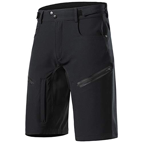 Pantalon Mountain Bike Hombre Ropa De Ciclismo MTB Holgado Malla Respirable Cintura Elástica Ajustable Secado Rápido con 5 Bolsillos Reflexivo Pantalon Ciclismo Hombre,Negro,XL