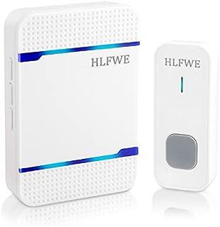 ワイヤレスチャイム HLFWE,玄関チャイム 呼び鈴 介護 防沫 防塵 配線不要 音と光で呼び出し 55曲 5段階音量調節 300M無線範囲 送信機1 受信機1 白い