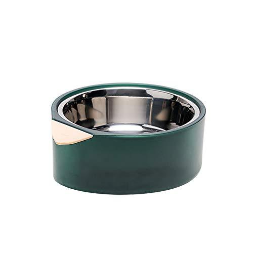 pidan 猫 ボウル セット フードボウル 猫 食器 食べやすい ステンレス ダブル えさ 皿 餌入れ 水飲み 保温保冷 (M, グリーン)