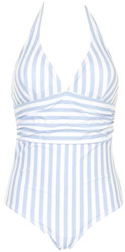 MISSYA - Traje de baño Monte Carlo – Traje de baño flotante en aspecto retro con cuello y espalda abierta – rayas blancas y azules claros. Rayas azules y blancas. 42