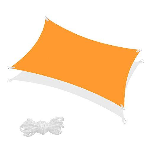 SPRINGOS Sonnensegel inkl. Abspannleine wasserabweisend Sonnenschutz Schattensegel Segeltuch für Garten Terrasse Balkon Wetterschutz Windschutz Beschattung Schattenspender (Orange Rechteck 4x3 m)