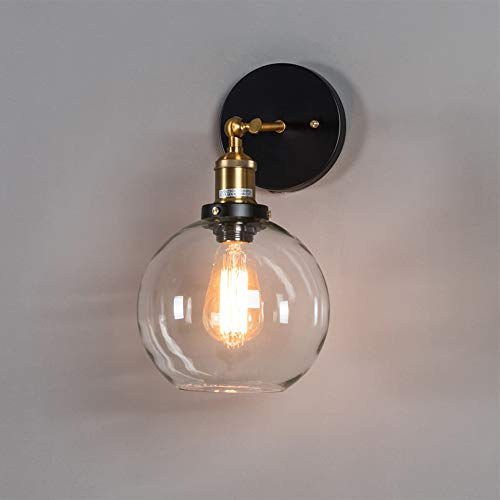 Vintage Industrial Lámpara De Pared Globo Transparente Bola De Cristal E27 Luz De Pared Ajustable A 180 ° Metal Negro Aplique De Pared Sala De Estar Lámparas De Noche,Black-No Bulb