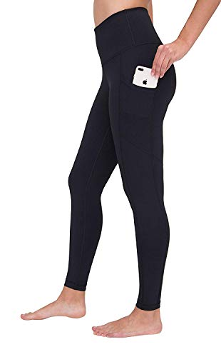 90 Degree by Reflex Power Flex Yoga Pants - High Waist Squat Proof Ankle Leggings with Pockets for Women - Black - Large
