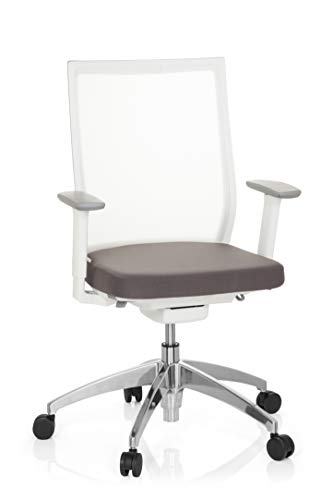 hjh OFFICE 657630 Profi Bürostuhl Aspen Stoff/Netz Weiß/Grau Drehstuhl ergonomisch, selbstheilender Netzrücken, höhenverstellbar