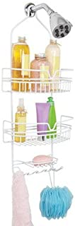 Bath Bliss Head Shower Caddy, 2 Large Baskets, Soap Dish Holder, 6 Accessory Hooks, Moisture & Rust Resistant, White