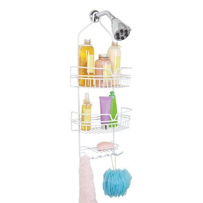 Bath Bliss Head Shower Caddy, 2 Large Baskets, Soap Dish Holder, 6 Accessory Hooks, Moisture & Rust Resistant, White