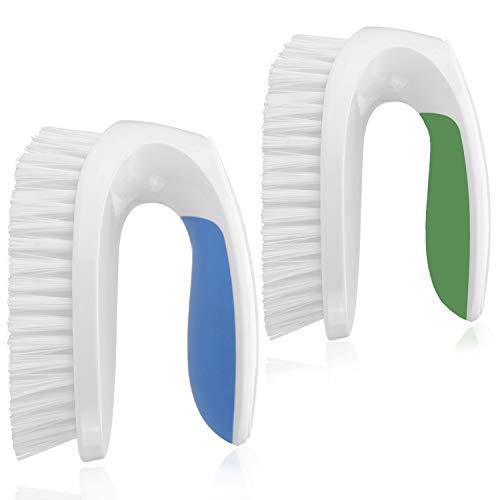 Amazer Scrub Brush 2-Pack, Comfort Grip & Flexible Stiff Bristles Heavy Duty for Bathroom Shower Sink Carpet Floor