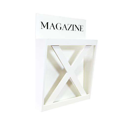 DRULINE Magazinhalter Zeitungständer für Zeitungen Zeitschriften und Magazine zum Aufhängen aus Holz | H x L x B 26 x 5 x 37 cm | weiß