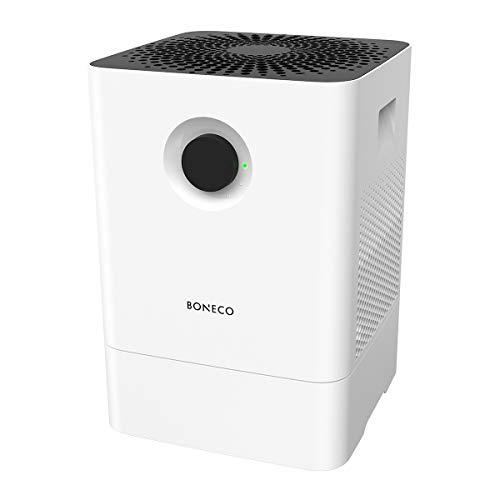 BONECO Luftbefeuchter Luftwäscher W200 - hocheffiziente Luftbefeuchtung - säubert die Luft von größeren Partikeln wie Pollen und Hausstaub, weiß