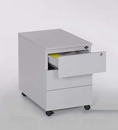 furni24 Rollcontainer Schreibtischcontainer 3 Schübe Farbe grau RAL 7035 pulverbeschichtet