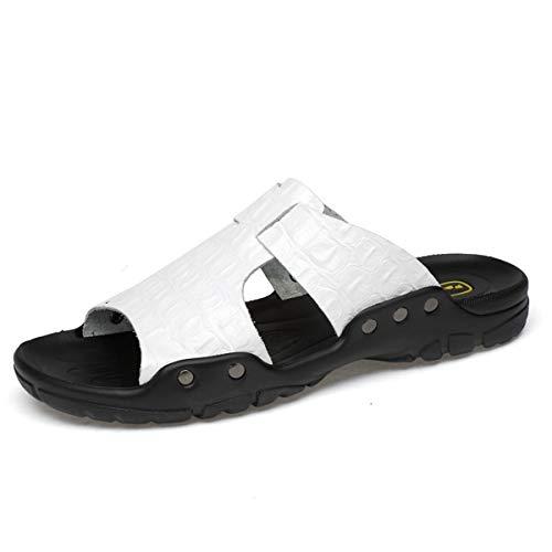 MERRYHE Chaussures Plates de Pantoufles de Plage pour Hommes de Grande Taille, Chaussures de Plage extérieures légères et décontractées, Sandales d'été pour Hommes,White-45