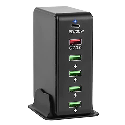 OVBBESS Carga RáPida Multi USB C Cargador de Pared QC3.0 EstacióN de Carga PD RáPida de Escritorio 20W de 65W 6 Puertos para TeléFono, Enchufe de la UE (Negro)