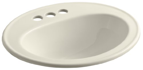 KOHLER K-2196-4-47 Pennington Self-Rimming Bathroom Sink, Almond