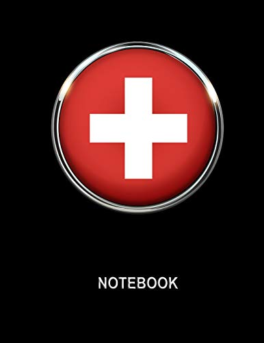 Notebook. Switzerland Flag Cover. Composition Notebook. College Ruled. 8.5 x 11. 120 Pages.
