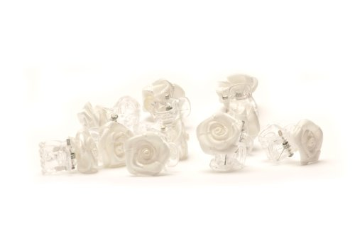 5 x Rosen auf Haarklammer - Brauthaarschmuck - Rosenhaarklammern - weiß