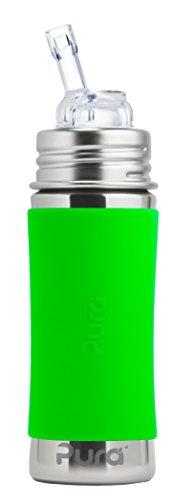 Pura kiki Strohhalmflasche aus Edelstahl für Kinder Grün Pura Stainless