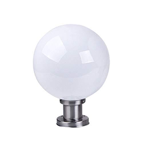 Modern Wegeleuchten Wasserdicht IP44 Runde Ball Sockelleuchte Silber Edelstahl Weiß Acryl Säulelampe Gartenlampe Landschaftslampe Außen-Lampe Säulenleuchte Retro E27 Fassung φ20CM