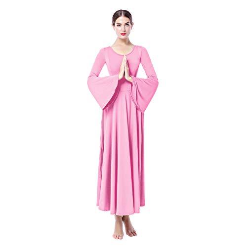 OBEEII Mujer Vestido Litúrgico Manga Larga Vestido de Ballet Clásico Gimnasia Danza Combinación Disfraces para Bautizo Ceremonia Baile Litúrgico Danza Casual 003 Rosa XL