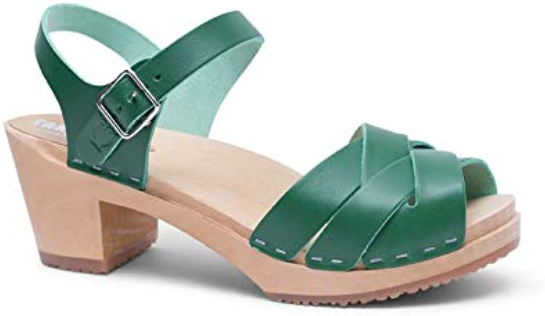 Sandgrens Swedish High Heel Wood Clog Sandals for Women   Rio Grande