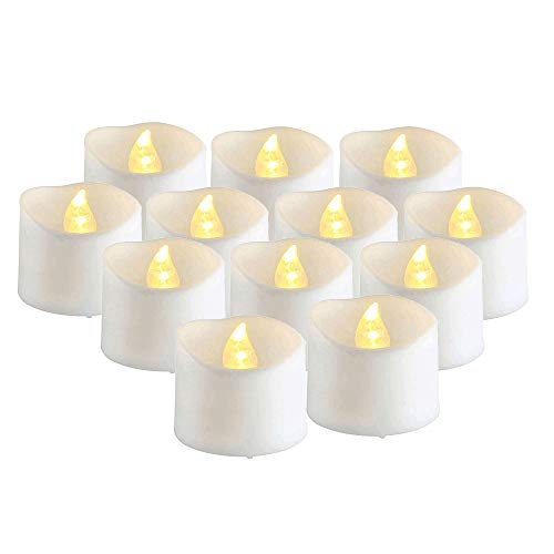 Peaches Stores 12 Piece Flameless Candles Battery Operated Pillar Real Wax Electric for LED Candle Sets for Season and Festival Parties with 24 Hour Timer