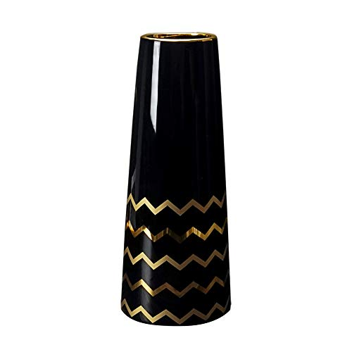 HCHLQLZ 25cm Schwarz Gold Vase Keramik Vasen Blumenvase Deko Dekoration