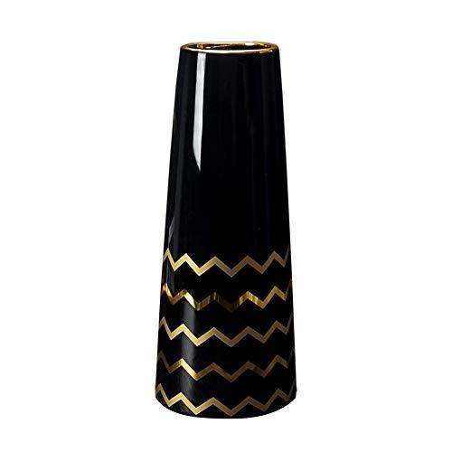 HCHLQLZ 25cm Nero Oro Fiori Vaso Decorativo di Design Moderno Collection per Ricorrenze Decorazioni per Interni Ristorante Bar Cafe Porcellana …