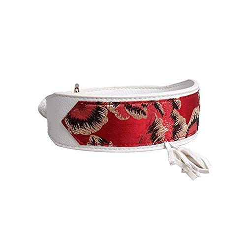 XBSXP Correa para Mascotas Collar de Perro Cuero Estampado de Flores Collar de Pitbull Collar de Cachorro para Mascotas para Perros medianos Grandes Galgo Doberman Pitbull (Color: Blanco