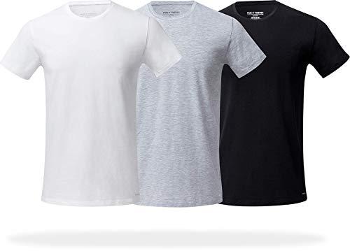 Pair of Thieves Men's 3 Pack Super Soft Crew Neck T-Shirt, White/Black/Grey, Large