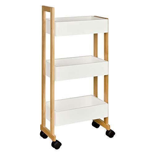 shelfmade Rollwagen mit 3 Fächern aus Bambus & MDF – Nischenregal mit Rollen, Küchenregal Badregal - rollbarer Küchenwagen und schmales Badregal, weiß