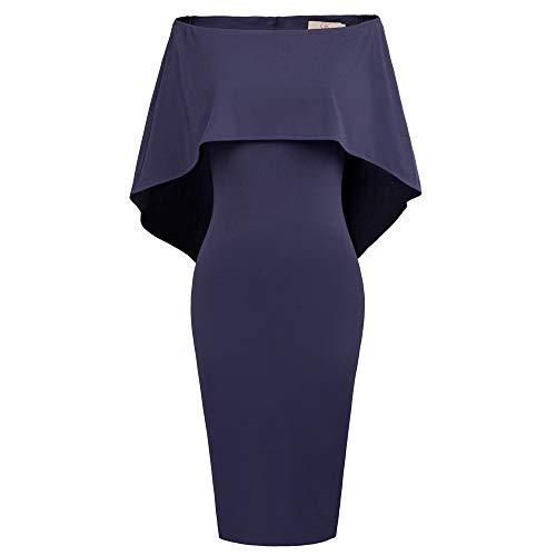 GRACE KARIN Damen Bleistiftkleid Off Shoulder Elegant Batwing Cape Hochzeitkleid Elegant Abendkleid Navy Blau CLAF0039-3_M