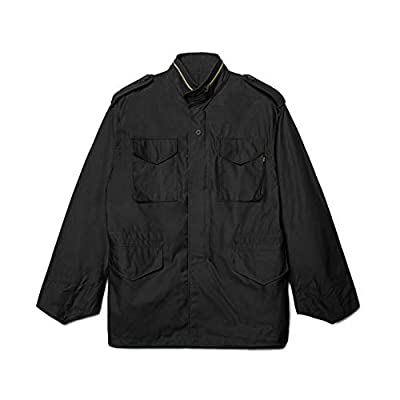 Alpha Industries M-65 Field Jacket - Classic Oversized Military Field Coat - Black, L