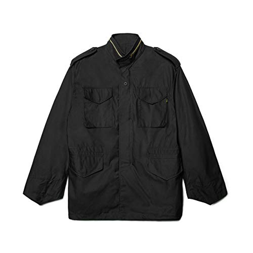 Alpha Industries M-65 Field Jacket - Classic Oversized Military Field Coat - Black, XL