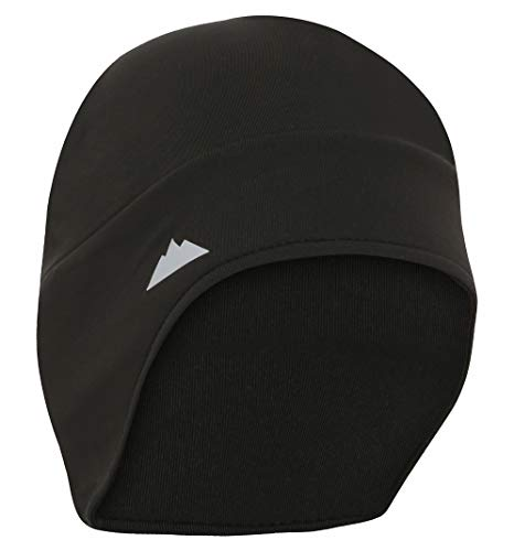 Helmet Liner Skull Cap Beanie with Ear Covers - Ultimate Thermal Retention and Performance Moisture Wicking. Perfect for Running, Cycling, Skiing & Winter Sports. Fits Under Helmets Black