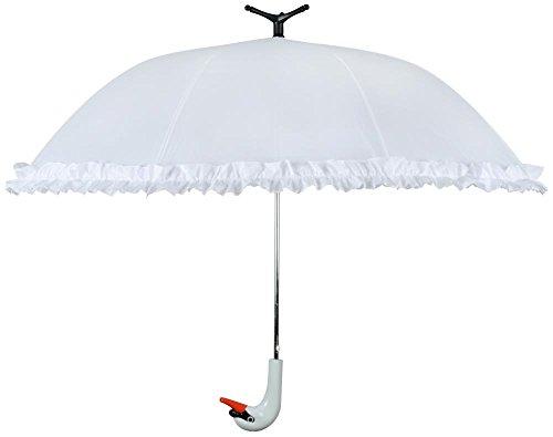 Esschert Design Gevallen Vruchten Witte Zwaan Paraplu met Ruches Automatische Open & Vrijstaande (90cm Diameter)