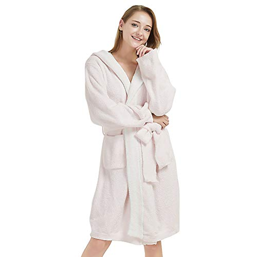 Minions Boutique - Albornoz con capucha para mujer, de terciopelo ultrasuave, con cuello a rayas, pijamas de ducha, camisón, Rosa, talla única