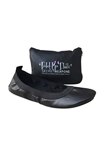 SECRET WEAPONS Fold Up Ballet Flats-Foldable Flats Shoes-Portable Travel Shoes with Purse & Tote Carry Bag - Colour Black (X-Large Size 11-12)