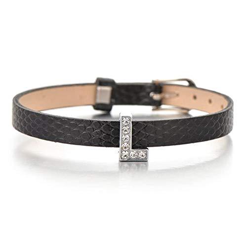 YIYYI HQXIZ Armband Zwart Lederen Bedel Armbanden Voor Vrouwen Mannen Kids Gift Crystal Letter Armband Initialen Naam Vriendschap Sieraden