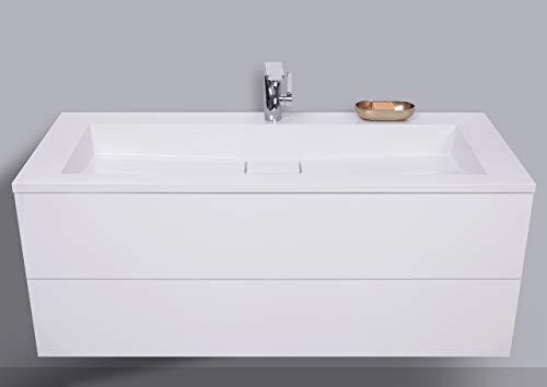 Intarbad ~ Badmöbel Set grifflos 120 cm, Waschtisch mit Unterschrank Evermite Waschbecken, Made in Germany Weiß Hochglanz Lack