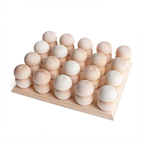 Ulanik Juego de 20 piezas de setas de madera sin acabar en un soporte Montessori, juguete de madera sin pintar para pintar, para aprender a partir de 1 años