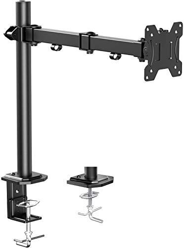 Brazo de Monitor Individual HUANUO, Base de Monitor de Altura Ajustable para Pantallas LCD LED de 13'- 32', 2 Opciones de Montaje, Dimensiones VESA 75/100, Capacidad de Peso de hasta 10 kg