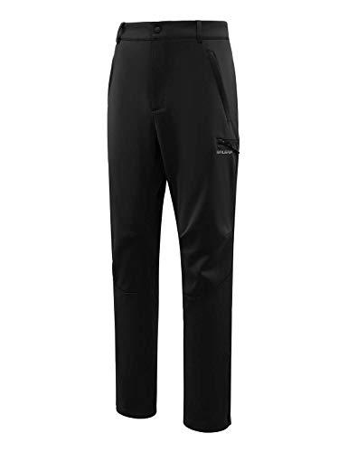 BALEAF Men's Hiking Softshell Fleece Lined Waterproof Windproof Outdoor Mountain Ski Insulated Pants Black Size L