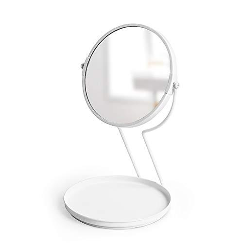 LIHY Miroir de Maquillage- Grossissement de Dessus de Table, Miroir de Maquillage Rond pour Salle de Bain - pivotant à 360 degrés , Retour grossissement de 5 Fois