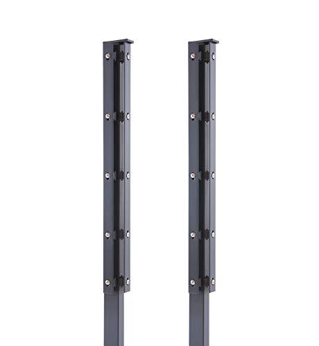 Arvotec 2X Eckpfosten mit Abdeckleiste für Stabmattenzaun, 60x40x1400 mm, anthrazit - geeignet für Zaunhöhe: 80-83 cm - inkl. Befestigung und Abdeckleiste