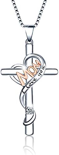 WINNICACA Cross Necklaces for Mom Sterling Silver I Love You Mom Necklaces for Women Birthday product image