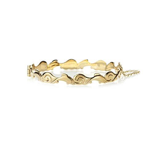 9ct gold gerollt im Wellen Gelb Delfin Armreifen, Sicherheitskette. Geschenkbox