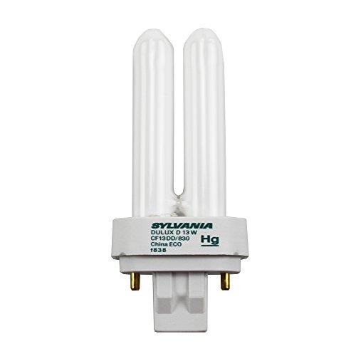 Osram Sylvania 046135207051 Sylvania 20705-CF13DD/830/ECO-13 Watt CFL Light Bulb-Compact Fluorescent-2 Pin GX23-2 Base-3000K, White