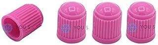 YOU.S Kunststoff Ventilkappen Pink Ventil Kappen Abdeckung für Auto PKW LKW (4 Stück)
