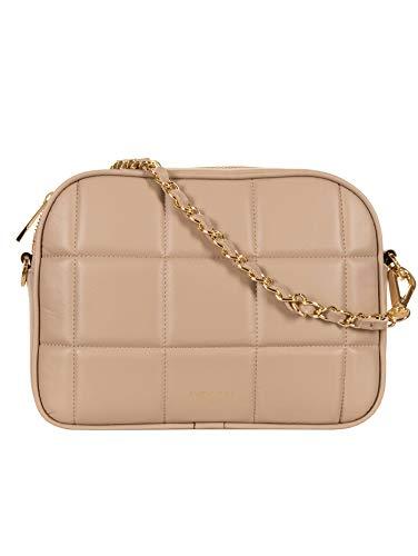 Avenue 67 Bolso de mujer, bolso Cloe, bandolera extraíble, piel matelassé, beige, 23 x 17 x 7 cm.