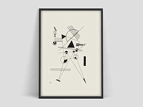 Póster de Wassily Kandinsky, póster de arte, boceto de arte en blanco y negro, impresión de arte del museo, arte abstracto, lienzo sin marco, pintura Q-61 50x75cm