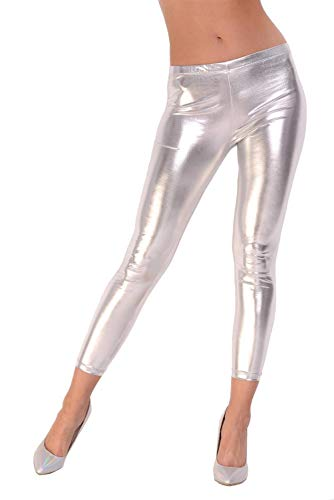 AE Leggings Metallic Latex Wet Look Lack Leder Optik Gr. S M L XL XXL 3X 4XL, 1905 Silber M/38